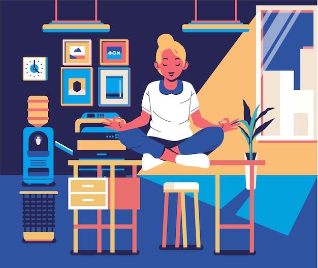 Kobiety Robią Cichą Medytację I Relaks W Biurze Z Biurową Kolorową Płaską Ilustracją Wnętrza. Premium Wektorów