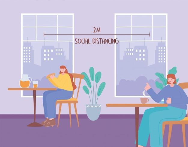 Kobiety robią dystans społeczny, jedząc same posiłki przy stołach, zapobiegając zakażeniu koronawirusem