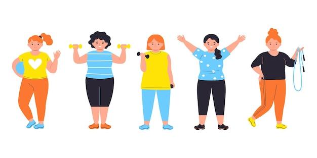 Kobiety robiące ćwiczenia sportowe postacie na białym tleilustracja wektorowa w mieszkaniu
