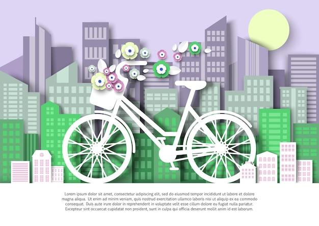 Kobiety rower z koszem na kwiaty miasto budynek sylwetki wektor wycinany z papieru ilustracja miasto eko tr...