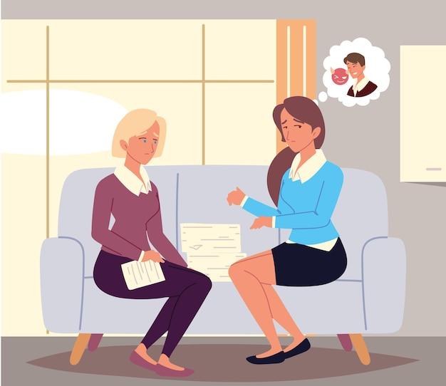 Kobiety rozmawiają o nękaniu w miejscu pracy