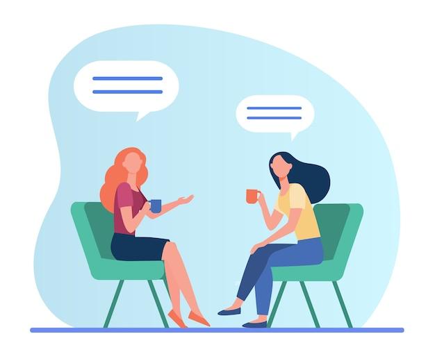 Kobiety rozmawiają przy filiżance kawy. koleżanki spotkanie w kawiarni, czat pęcherzyki płaskie wektor ilustracja. przyjaźń, komunikacja
