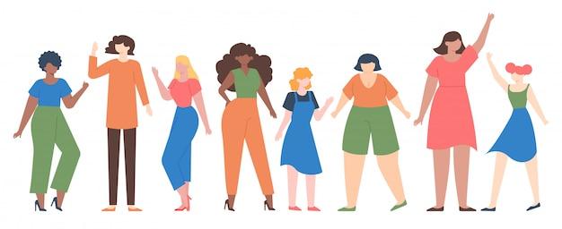 Kobiety różnorodne. wzmocnienie grupy kobiet, zespół dziewcząt o różnym rozmiarze i kolorze skóry, zestaw ilustracji społeczności siostrzanej różnorodności. grupa dziewcząt, inna kobieta