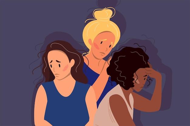 Kobiety różnych kultur i narodowości stojące razem. pojęcie ruchu na rzecz wzmocnienia pozycji kobiet i równości płci.