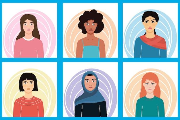 Kobiety różnych narodowości. dziewczęta narodowości azjatyckiej, europejskiej, afrykańskiej.