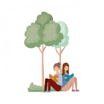 Kobiety siedzą z książką w krajobrazie z drzewami i roślinami