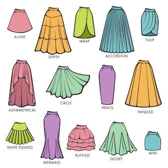 Kobiety spódnicy typ modeluje kolekcję wektorową kobiety sukni spódnic styl odizolowywającego