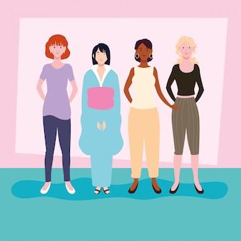 Kobiety stojące w różnych pozach