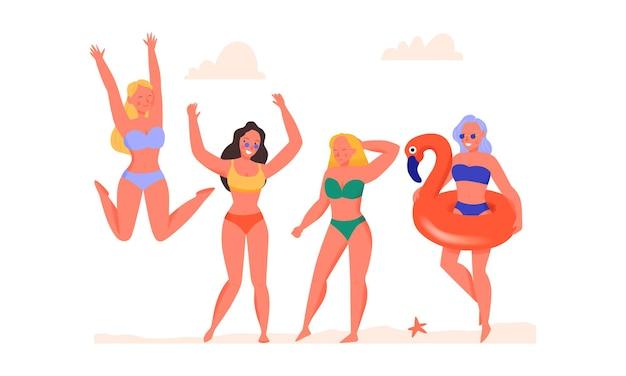 Kobiety tańczą w strojach kąpielowych na płaskiej ilustracji plaży