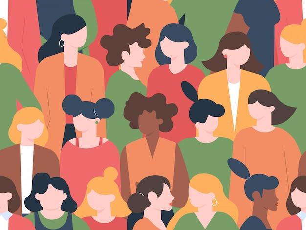 Kobiety tłum wzór. grupowe portrety postaci kobiecych, społeczność kobieca z różnymi fryzurami. wielokulturowa ilustracja portret kobiety