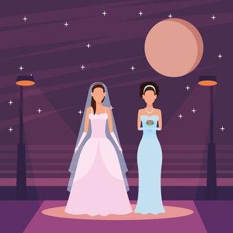 Kobiety ubrane w suknię ślubną