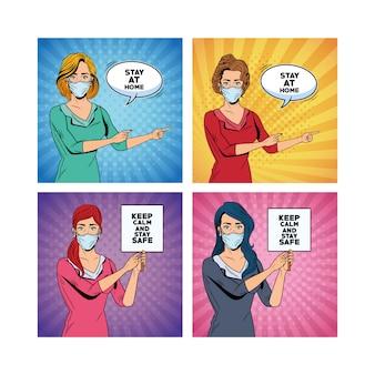 Kobiety używające masek na twarz dla covid19, które mówią wiadomości i banery