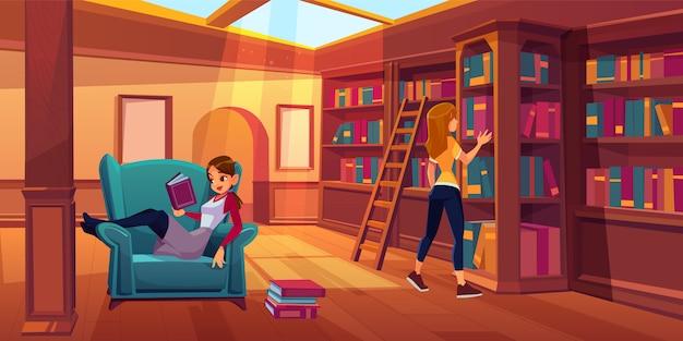Kobiety w bibliotece czytają i wyszukują książki.