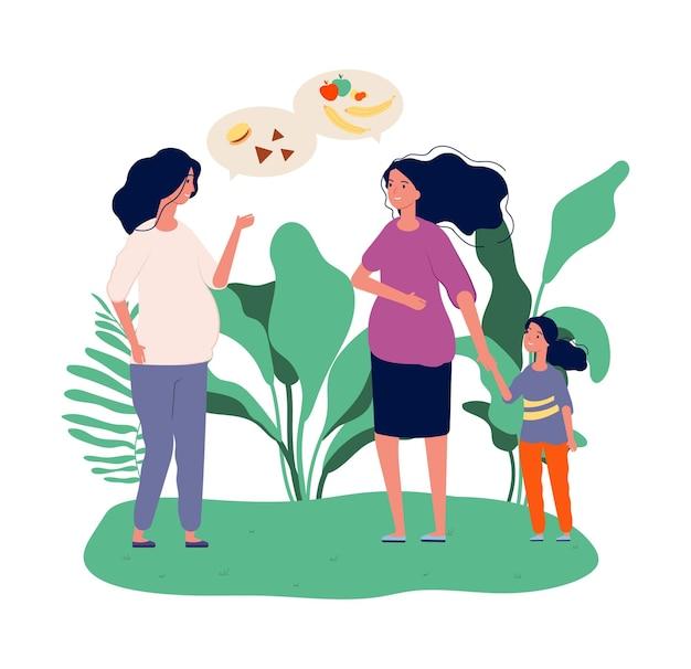 Kobiety w ciąży. dziewczyny rozmawiają o jedzeniu. zielona dieta, świeże owoce i warzywa. płaskie ilustracja kreskówka