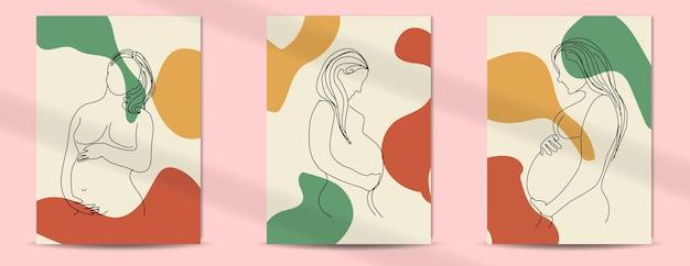 Kobiety w ciąży w stylu boho w stylu sztuki linii na dzień matki i dzień kobiet