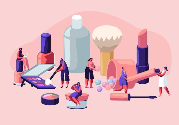 Kobiety w salonie kosmetycznym. postacie kobiece testujące produkty do pielęgnacji skóry w salonie piękności.