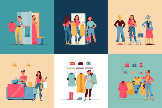 Kobiety w sklepie odzieżowym kwadratowej płaskiej na białym tle ilustracji