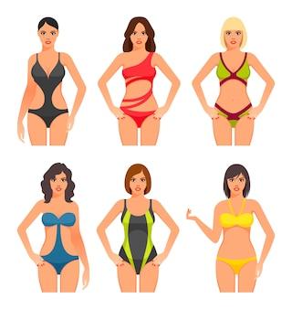 Kobiety w stroju kąpielowym.