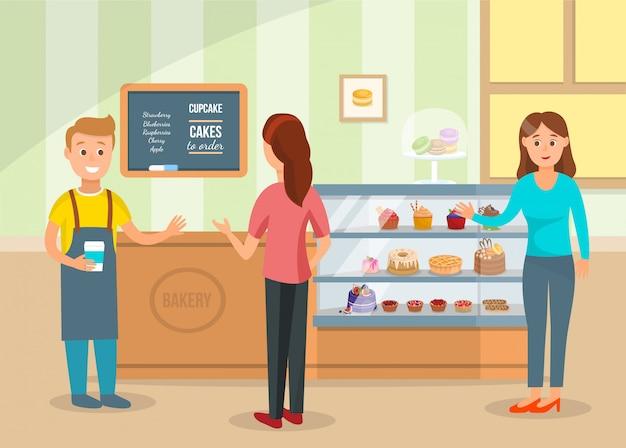 Kobiety wybierają ciasta i kupują kawę w sklepie piekarni