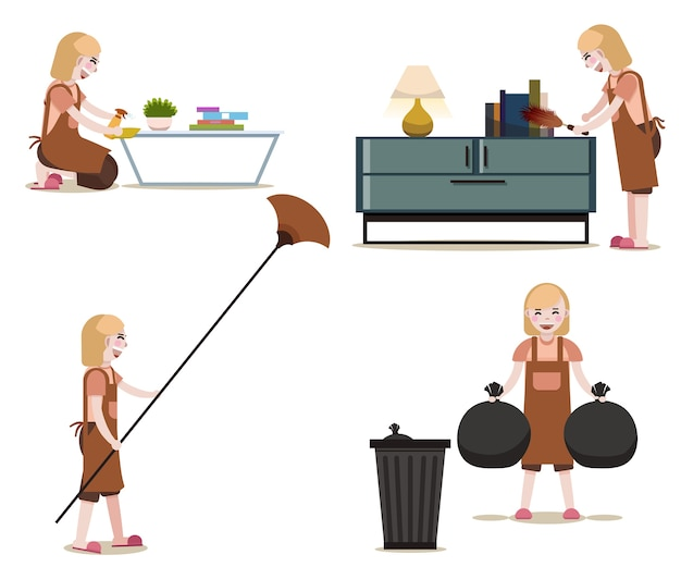 Kobiety z cleaning wyposażeniem odizolowywali wektor