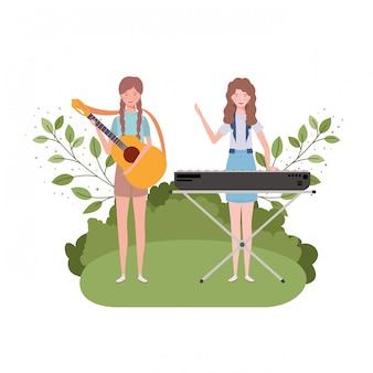 Kobiety z instrumentami muzycznymi i krajobrazem