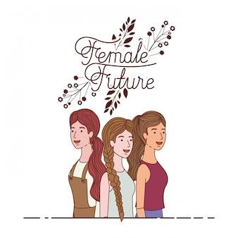 Kobiety z kobiecym przyszłym charakterem etykiety