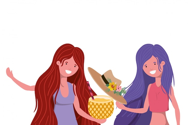 Kobiety z kostiumem kąpielowym i ananasem koktajlowym