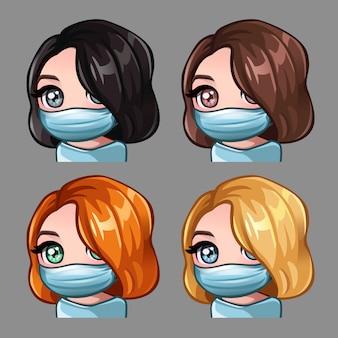Kobiety z krótkimi włosami w masce medycznej