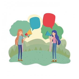 Kobiety z megafonem w ręce w krajobrazie