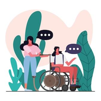Kobiety z protezą nogi i wózkiem inwalidzkim wyłączają projekt ilustracji postaci