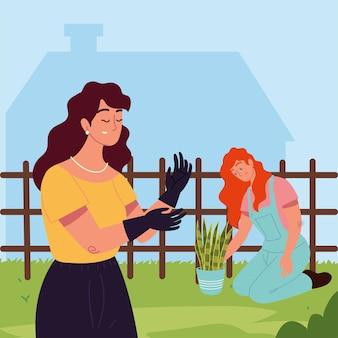 Kobiety z rośliną