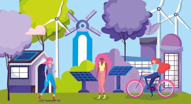 Kobiety z rowerem i deskorolką w branży energii odnawialnej