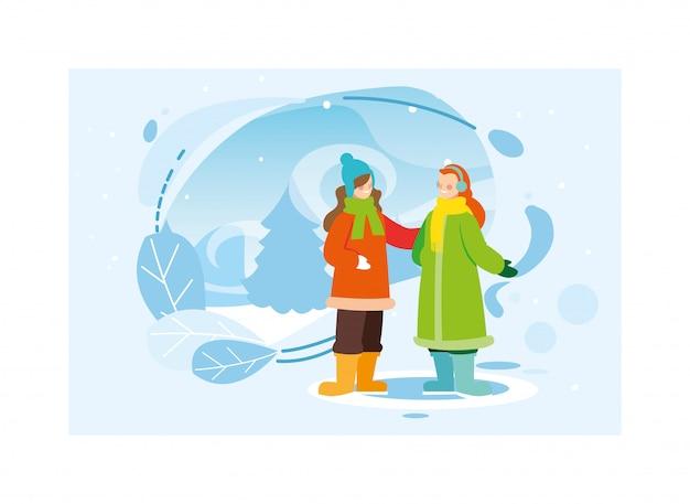 Kobiety z zimą ubrania w krajobraz ze śniegu
