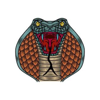 Kobra ilustracja węża w stylu tatuażu starej szkoły. element na logo, etykietę, znak, plakat, koszulkę. ilustracja