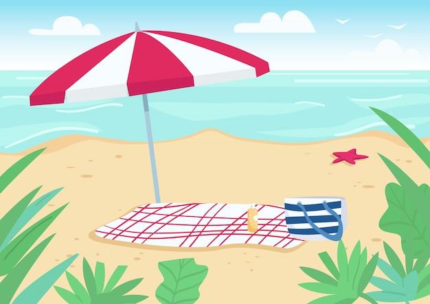 Koc i słońce parasol na piasku wyrzucać na brzeg płaską kolor ilustrację. ręczniki, torby i butelki z filtrem przeciwsłonecznym do opalania. letni wypoczynek. wybrzeże kreskówka 2d krajobraz z wodą na tle