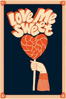 Kochaj mnie słodko handdrawn napis typografia cytat o miłości na walentynki i wesele