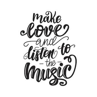 Kochaj się i słuchaj plakatu z muzyką.