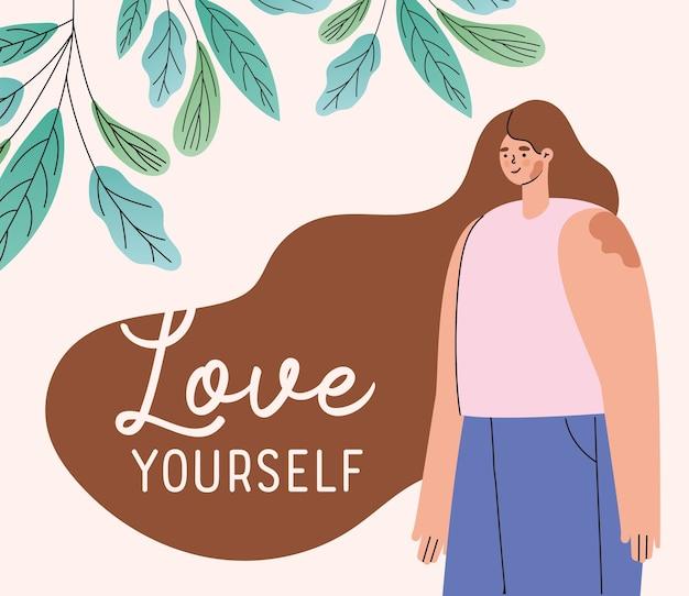 Kochaj siebie bielactwo kobieta kreskówka z projektem liści, motyw samoopieki
