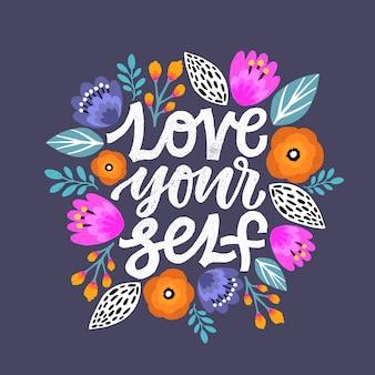 Kochaj siebie cytat z napisem.