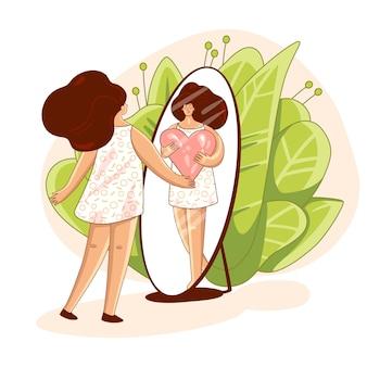 Kochaj siebie i dbaj o siebie. dziewczyna, patrząc w lustro i przytulając wielkie serce miłości. dziewczyna healthcare ilustracja do pielęgnacji skóry o nie spiesz się