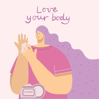 Kochaj siebie, kochaj swoje ciało kobiety w tle. karta koncepcja stylu życia wektor z tekstem nie zapomnij kochać siebie w stylu płaski