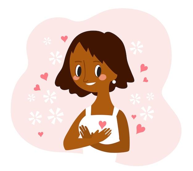Kochaj siebie. młoda african american kobieta przytulanie siebie. ilustracja kreskówka.