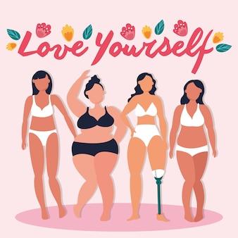 Kochaj siebie napis z grupą dziewcząt doskonale niedoskonałego projektu ilustracji wektorowych
