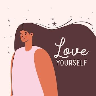 Kochaj siebie plus rozmiar kobieta kreskówka projekt, motyw samoopieki