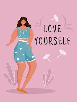 Kochaj siebie szablon plakatu. ruch feministyczny. broszura, okładka, projekt strony broszury z płaskimi ilustracjami. ciało pozytywne. ulotka reklamowa, ulotka, pomysł na układ banera