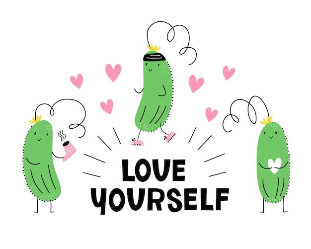 Kochaj siebie. wektorowa ilustracja z ogórkiem piękno, sport i miłość. emoji