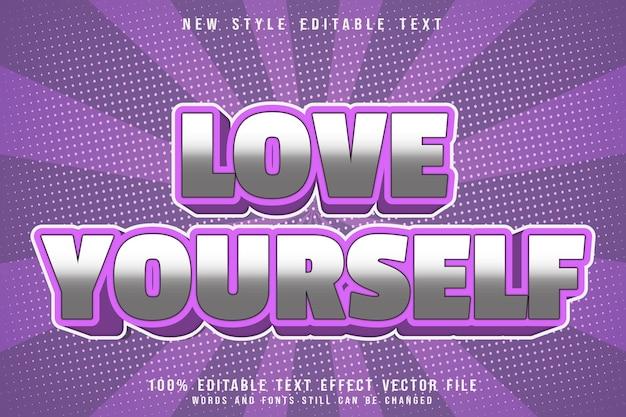 Kochaj siebie z edytowalnym efektem tekstowym w stylu kreskówki