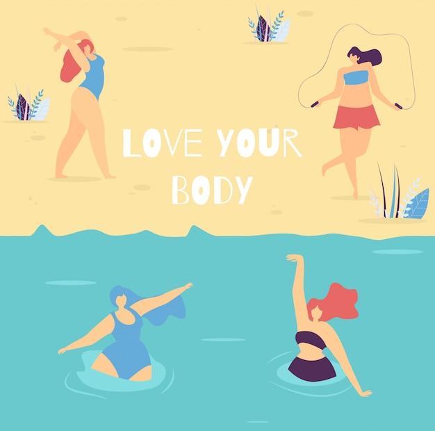 Kochaj swoje ciało motywacyjny napis kobieta transparent
