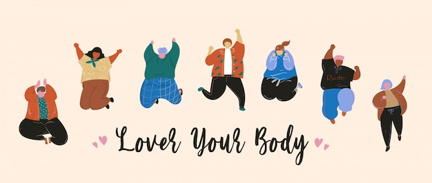 Kochaj swoje ciało szczęśliwych ludzi skaczących płaskich