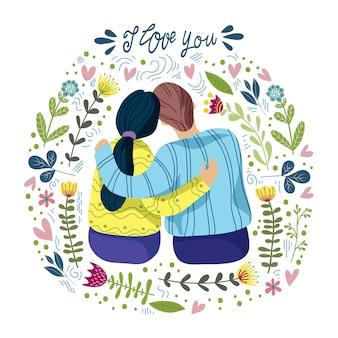 Kochająca para i abstrakcjonistyczni kwiaty